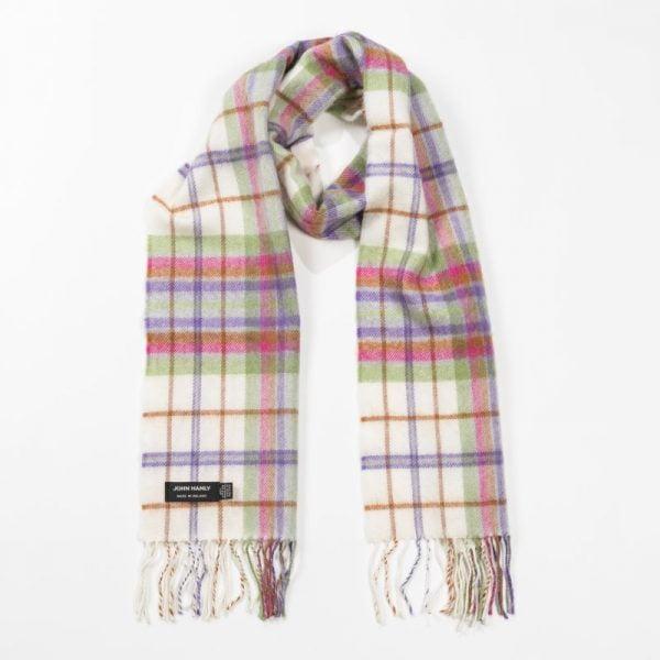 Merino Luxury Wool Scarf White Purple Green Check