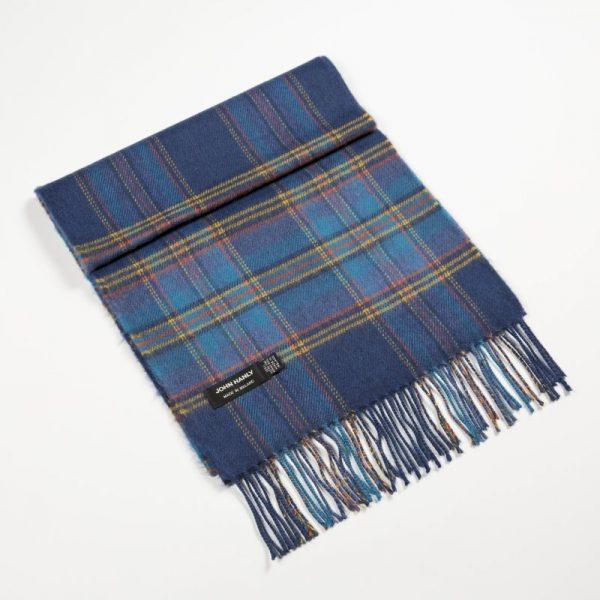 Merino Luxury Wool Scarf -Indigo-Turquoise-Yellow-Plaid