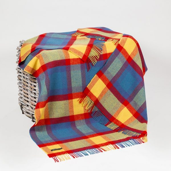 Cashmere Throw Bright Blue Red Yellow Check