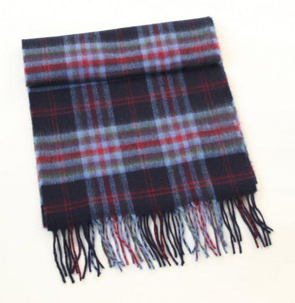 Merino Luxury Wool Scarf Navy Red Check
