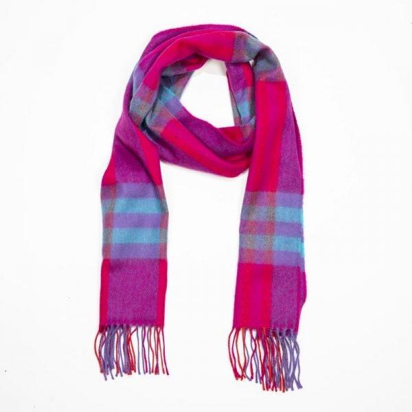 Merino Luxury Wool Scarf Pink Red Aqua Check