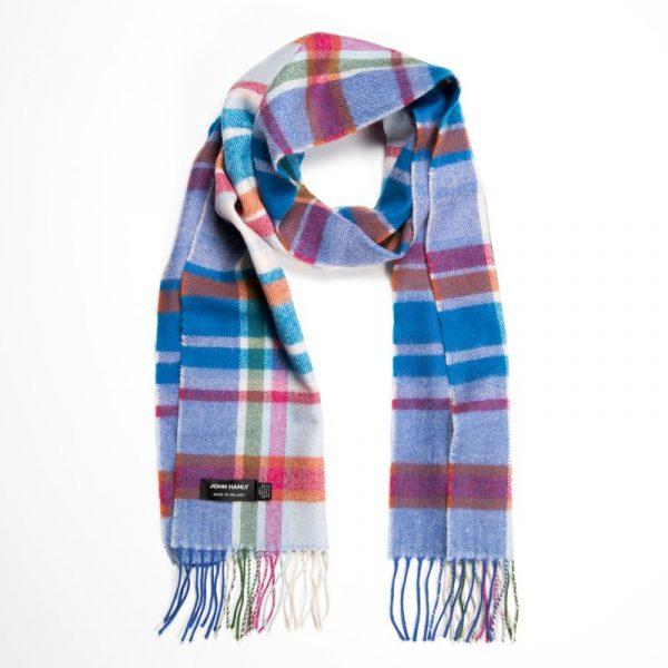 Merino Luxury Wool Scarf White Pink Turquoise Check