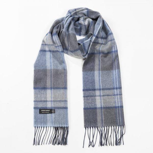 Merino Luxury Wool Scarf Grey Blue Check