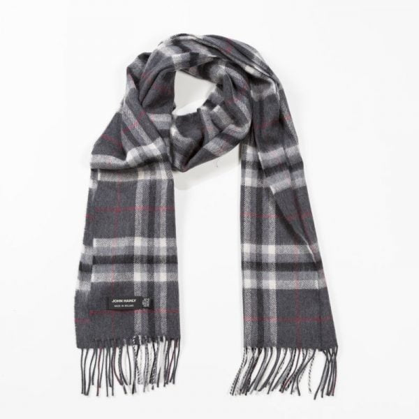 Merino Luxury Wool Scarf Charcoal Grey Plaid