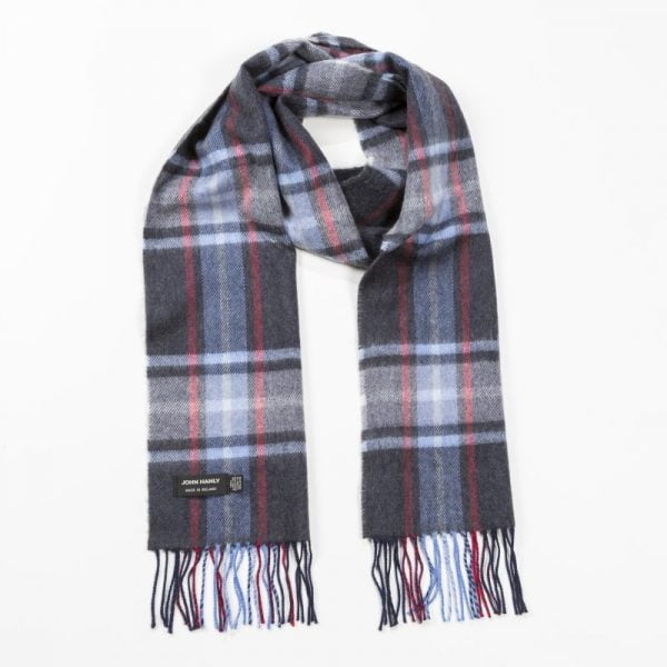Merino Luxury Wool Scarf Charcoal Blue Red Plaid