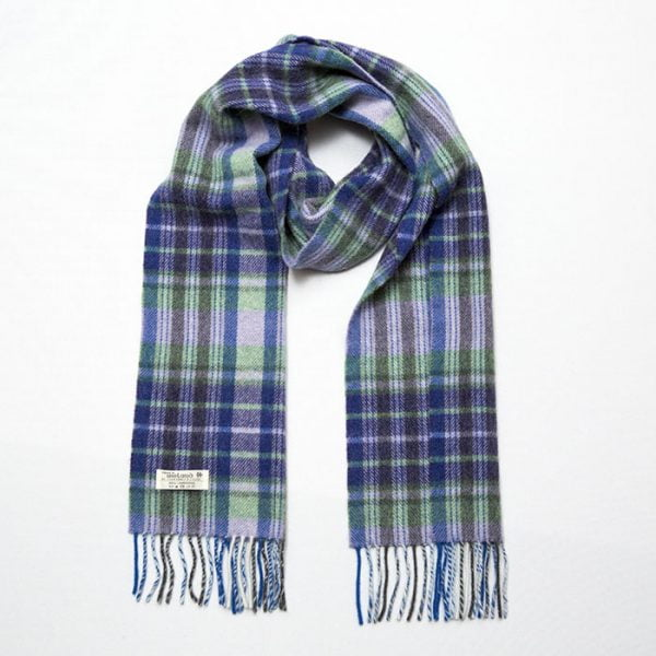 Irish Wool Scarf Long Purple Green