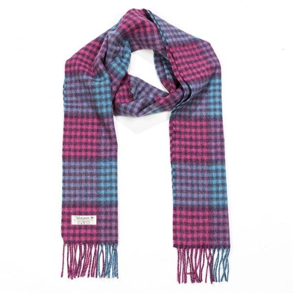 Irish Wool Scarf Long Pink Blue
