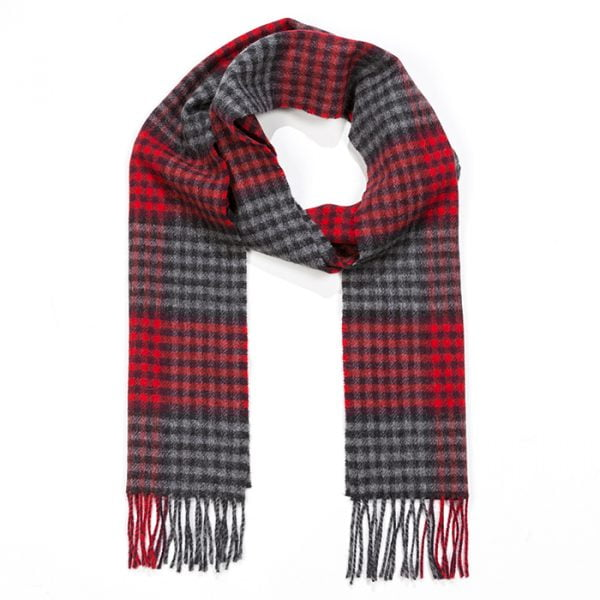 Irish Wool Scarf Long Grey Red