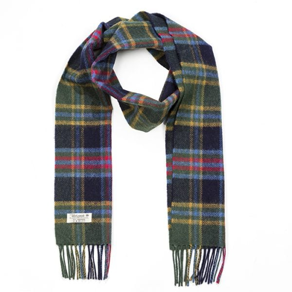 Irish Wool Scarf Long Green Blue Red Navy