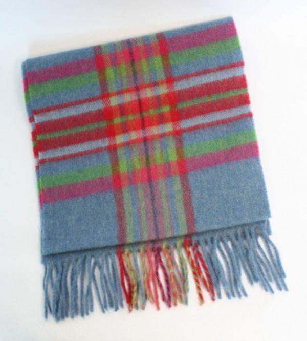 Irish Wool Scarf Short Blue