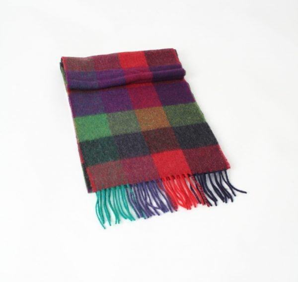 Irish Wool Scarf Green Red Navy Purple Check
