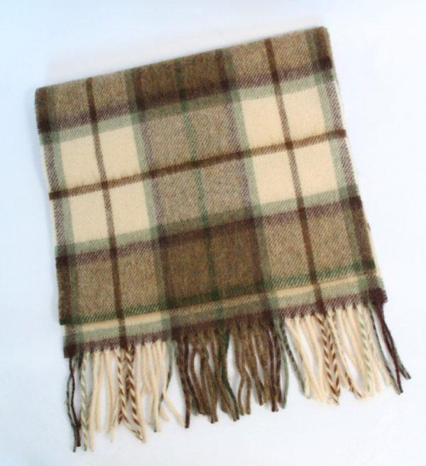 Irish Wool Scarf Brown Check