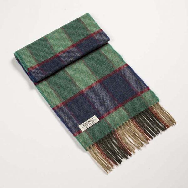 Irish Wool Scarf Short Green Check