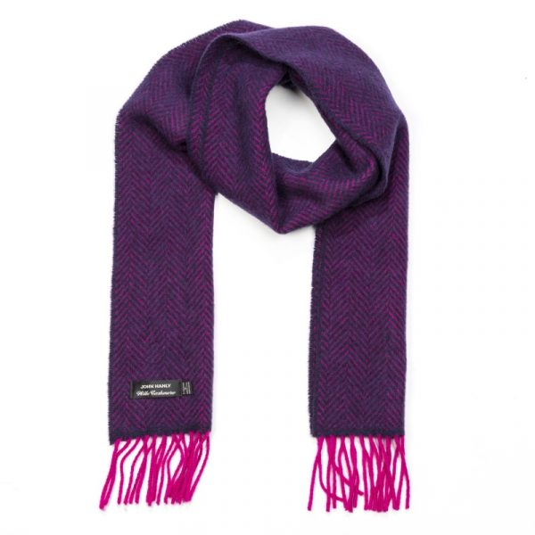 Irish Cashmere Merino Scarf Purple Herringbone