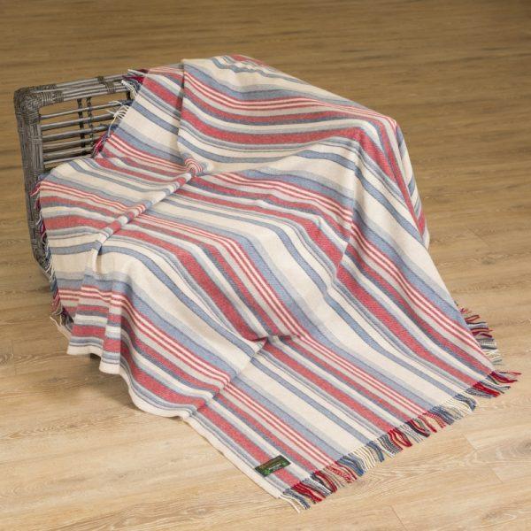 Merino Lambswool Blanket Red Blue Stripe