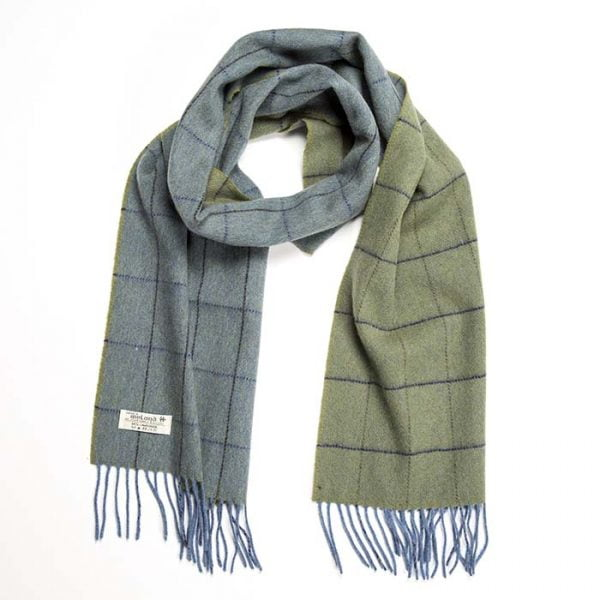 Irish Wool Scarf Medium Blue Green Windowpane