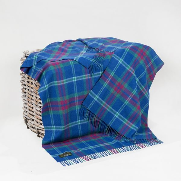 Lambswool Throw Blue Pink Check