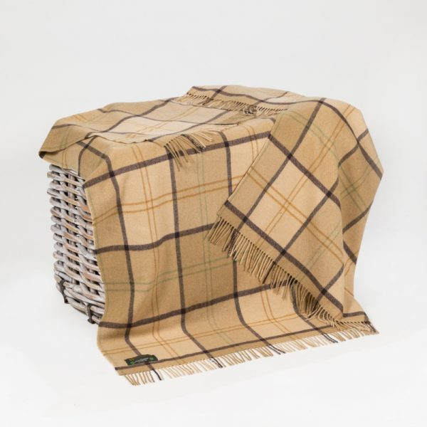 Lambswool Throw Camel Check