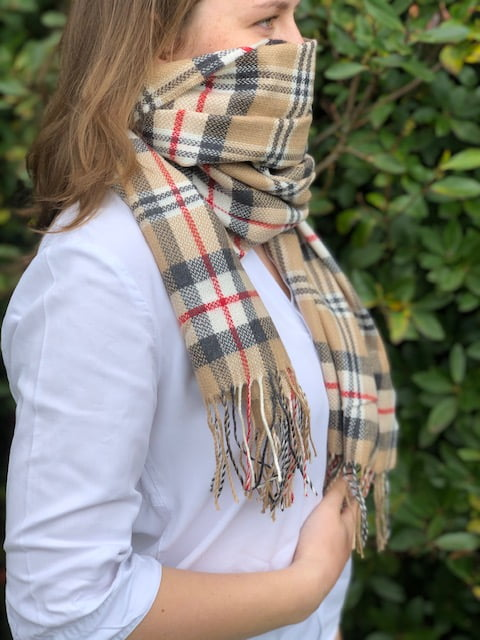 Large Merino Wool Scarf Camel Plaid