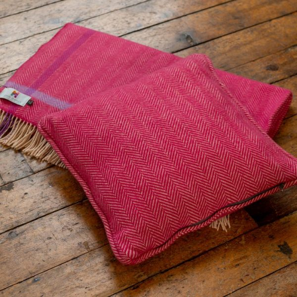 Cushion Raspberry Cream Herringbone