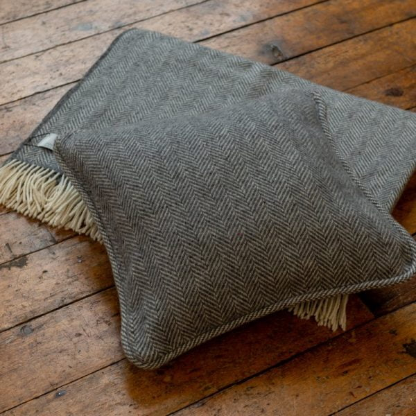 Cushion Mid Grey Herringbone