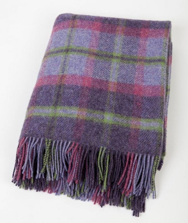 Irish Picnic Knee Blanket Purple Pink and Green Tartan