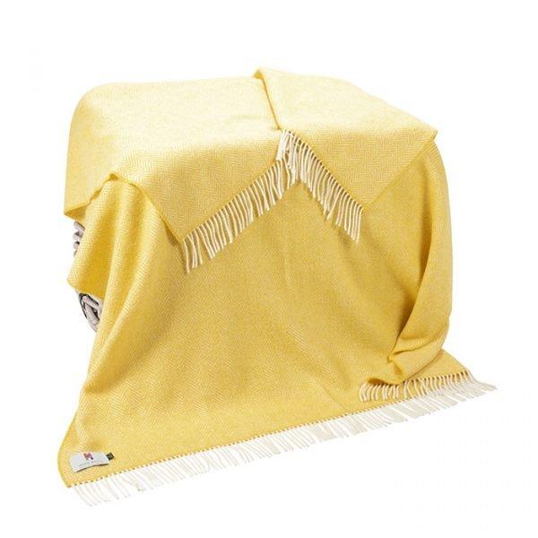 Cashmere Throw Yellow Herringbone