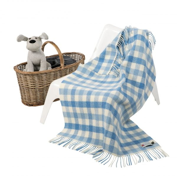 Personalised Irish Cashmere Baby Blanket Blue Block Check