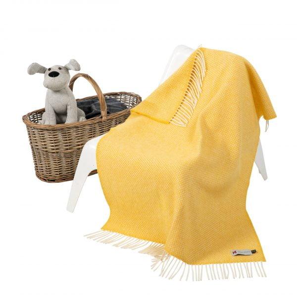 Personalised Irish Cashmere Baby Blanket Baby Yellow Herringbone in a presentation box.