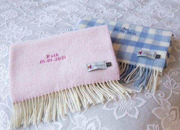 Personalised Irish Cashmere Baby Blanket Baby Pink Herringbone