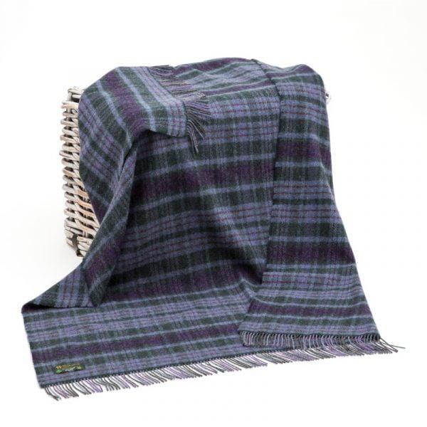 Large Irish Picnic Blanket Purple Check