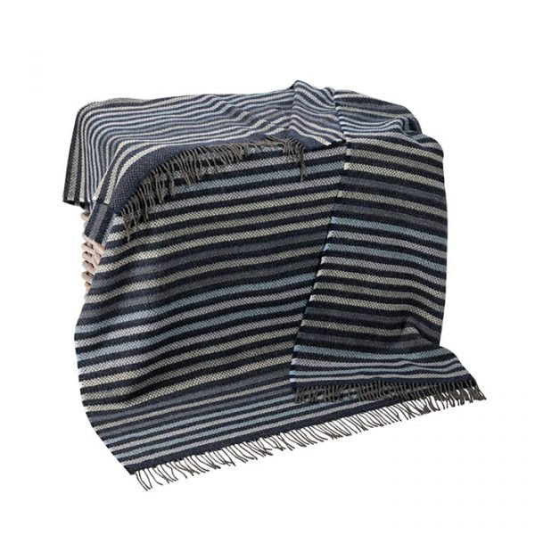 Cashmere Throw Blue Denim Pale Grey Stripe