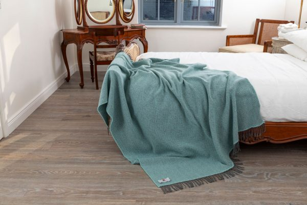 Oversize Cashmere Throw Duck Egg Herringbone