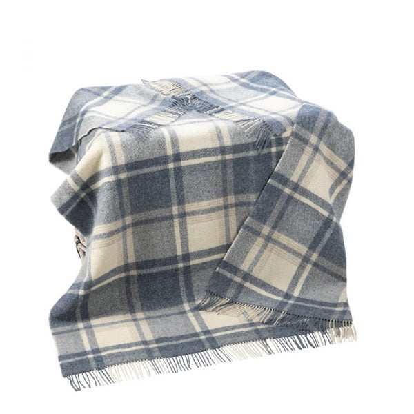 Large Irish Picnic Blanket Natural Denim Blue Mix Plaid