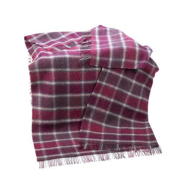 Large Irish Picnic Blanket Berry Red Grey Windowpane