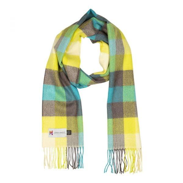 Merino Luxury Wool Scarf Turquoise Yellow Brown Check