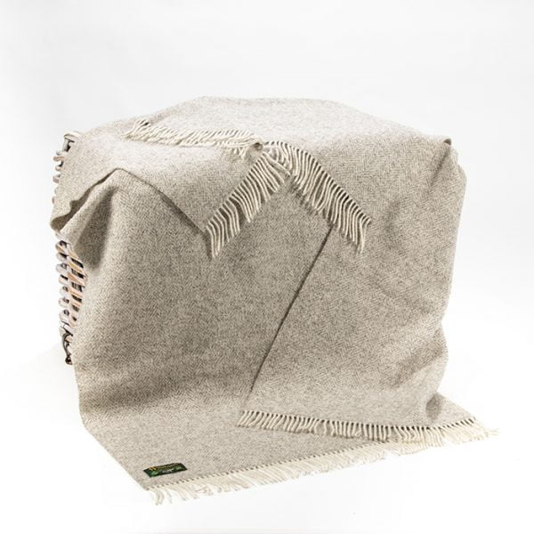 Natural Wool Eco Throw Grey Mix Herringbone