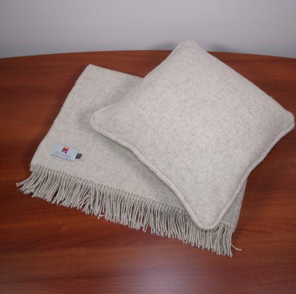 Ballyartella Cushion Collection Natural Wool Eco Throw Ecru