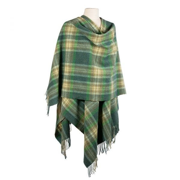 Lambswool Cape Green Mix Camel Check