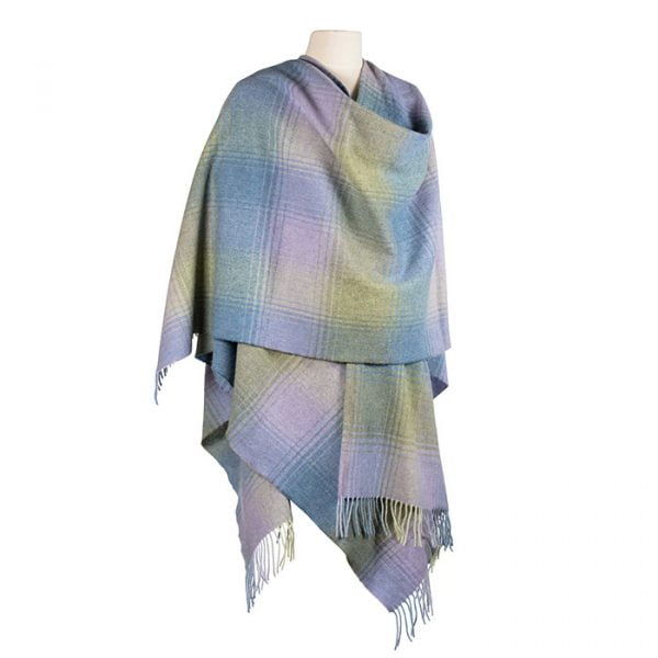 Lambswool Cape Blue Green Lilac Check