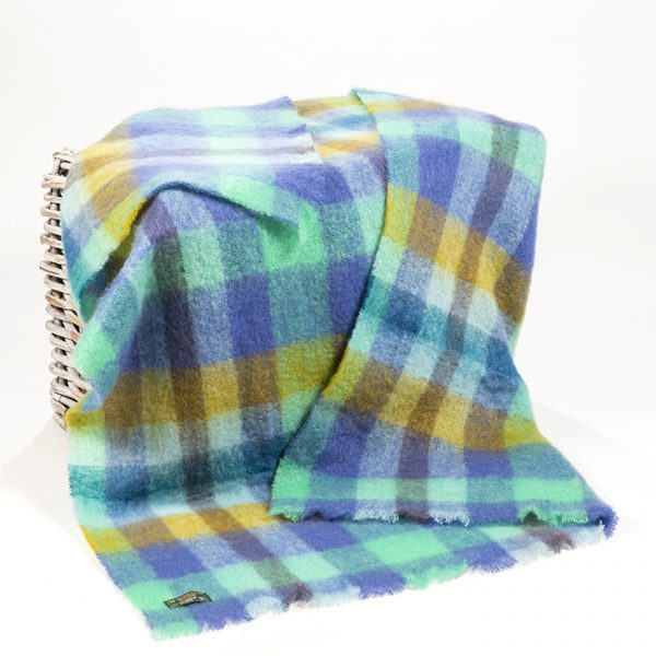 Mohair Throw Lilac Mint Mustard Block