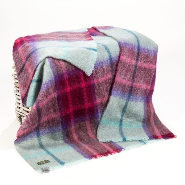 Mohair Throw Duck Egg Wine Pink Plaid
