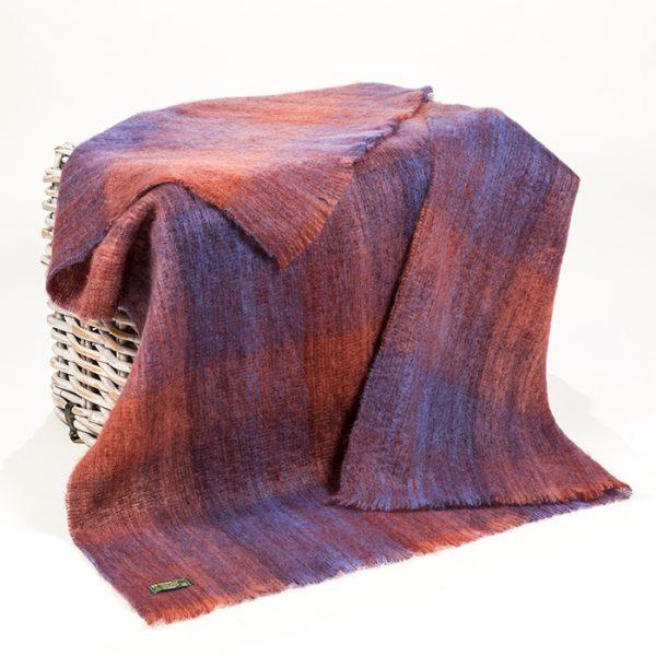 Mohair Throw Blue Coral Stripe Block