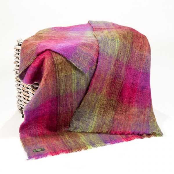 Mohair Throw Green Pink Mauve Blocks