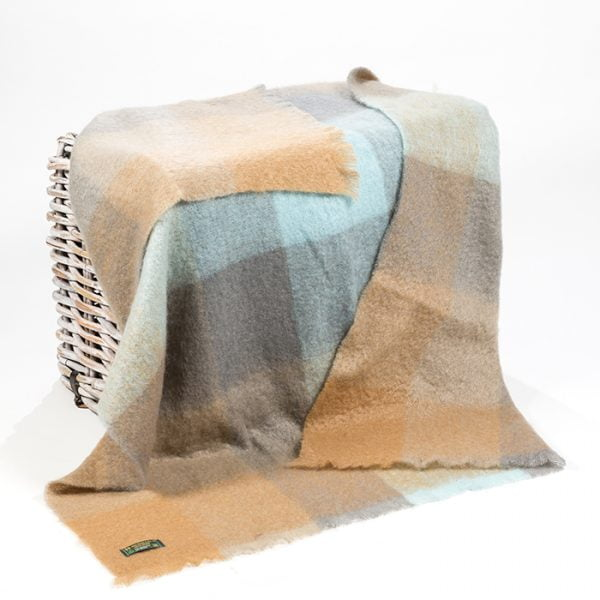 Mohair Throw Camel Aqua Grey Blocks