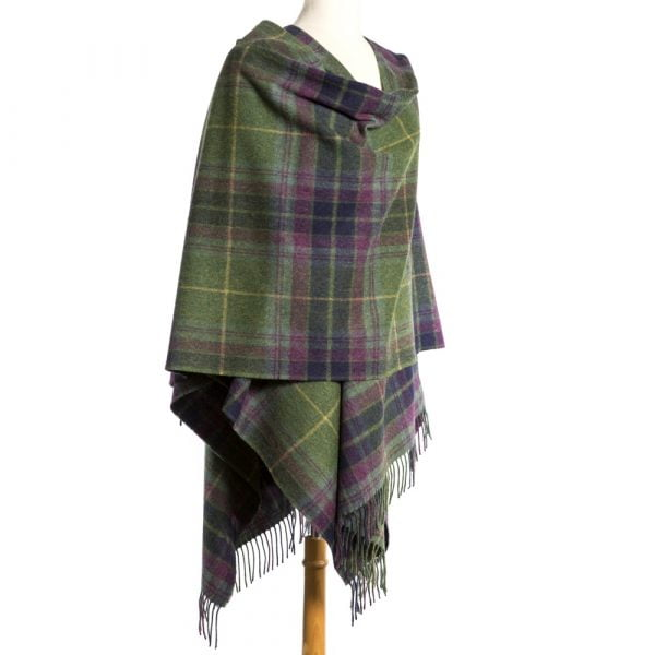 Lambswool Cape Green Navy Purple Plaid
