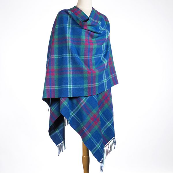 Lambswool Cape Blue Pink Check