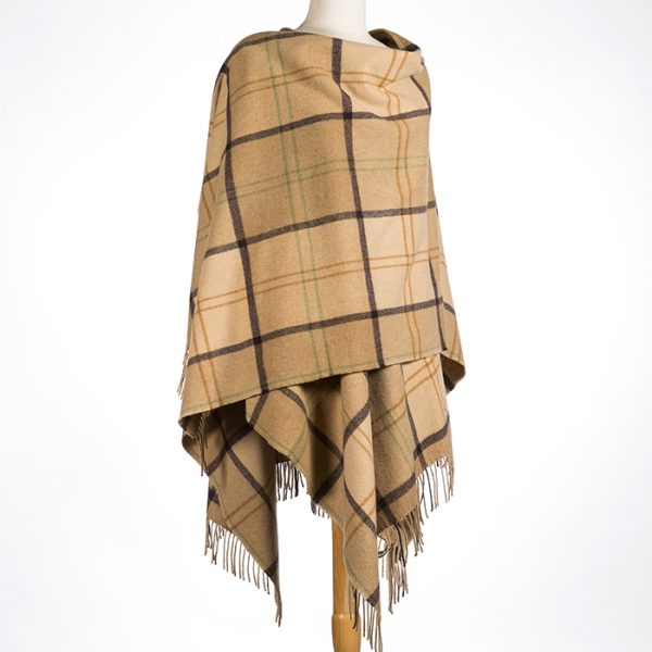 Lambswool Cape Camel Check