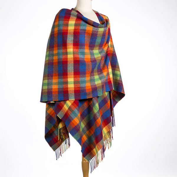 Lambswool Cape Bright Yellow Orange Red and Blue Small Check