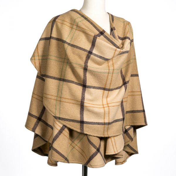Lambswool Cape Beige Camel Plaid